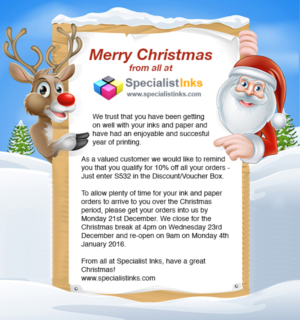 Merry Christmas from Specialist Inks